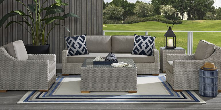 Patmos Gray 4 Pc Outdoor Seating Set with Mushroom Cushions