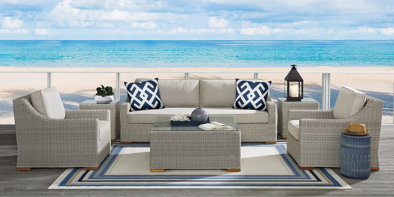 Patmos Gray 6 Pc Outdoor Seating Set with Linen Cushions