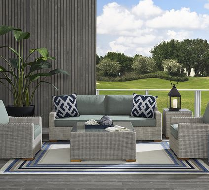Patmos Gray 6 Pc Outdoor Seating Set with Moss Cushions