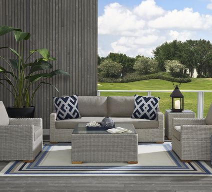 Patmos Gray 6 Pc Outdoor Seating Set with Mushroom Cushions