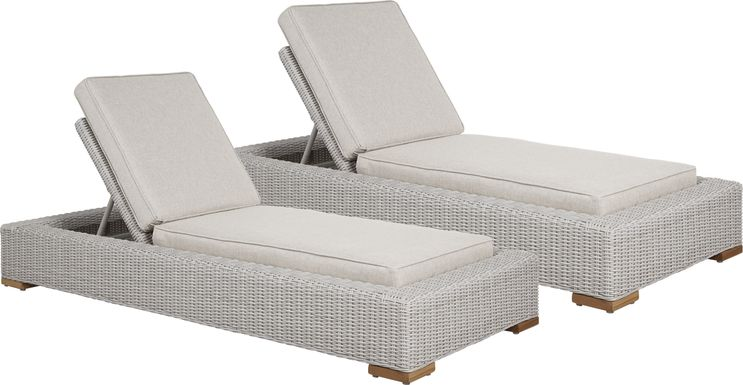 Patmos Gray Outdoor Chaise with Linen Cushions, Set of 2