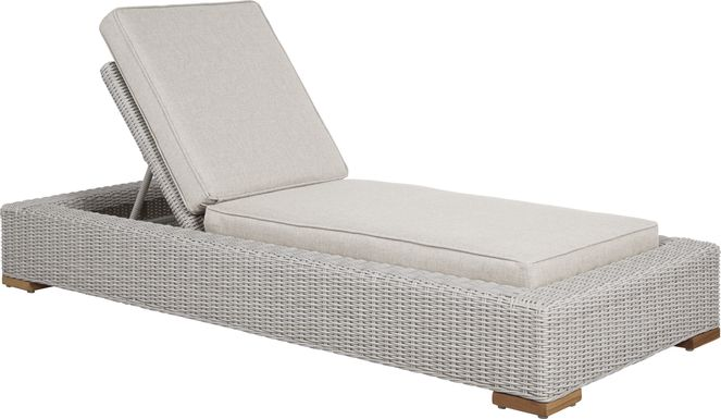 Patmos Gray Outdoor Chaise with Linen Cushions