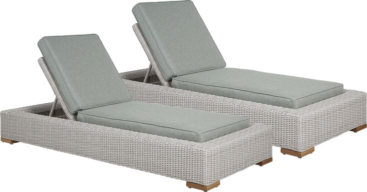 Patmos Gray Outdoor Chaise with Moss Cushions, Set of 2