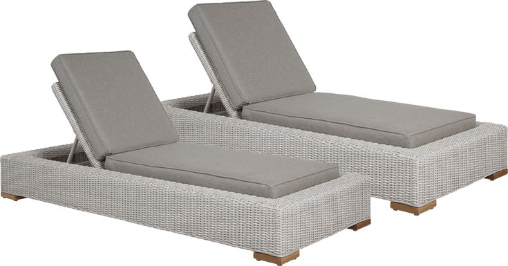 Patmos Gray Outdoor Chaise with Mushroom Cushions, Set of 2