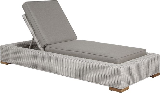 Patmos Gray Outdoor Chaise with Mushroom Cushions