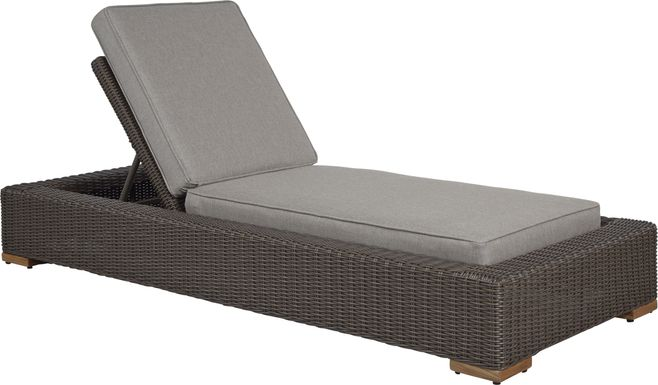 Patmos Brown Outdoor Chaise with Mushroom Cushions