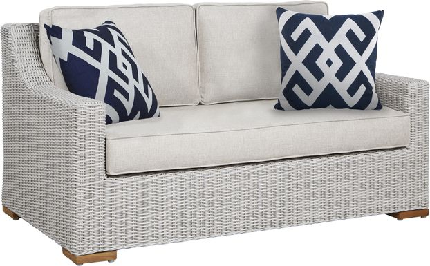 Patmos Gray Outdoor Loveseat with Linen Cushions