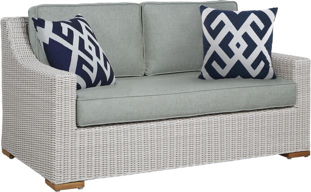 Patmos Gray Outdoor Loveseat with Moss Cushions