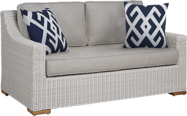 Patmos Gray Outdoor Loveseat with Mushroom Cushions