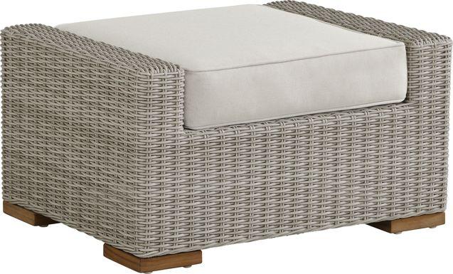 Patmos Gray Outdoor Ottoman with Linen Cushion