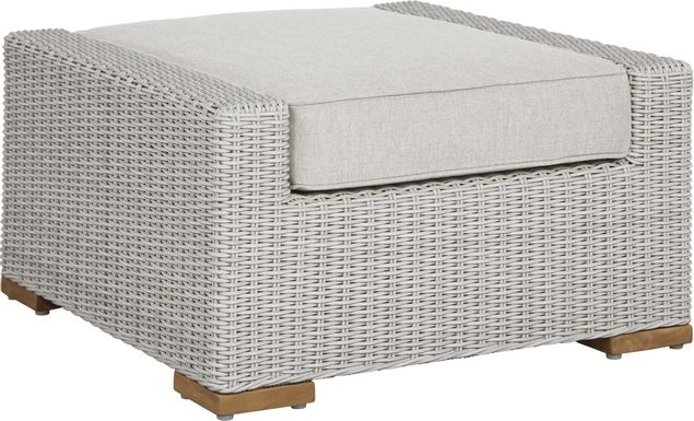 Patmos Gray Outdoor Ottoman with Linen Cushion