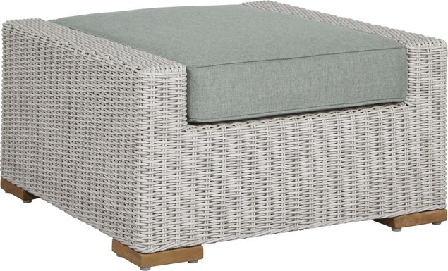 Patmos Gray Outdoor Ottoman with Moss Cushion