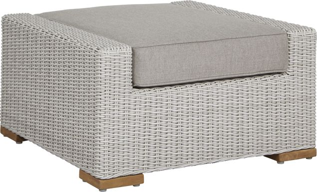 Patmos Gray Outdoor Ottoman with Mushroom Cushion