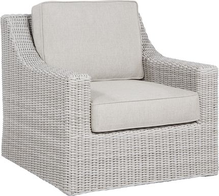 Patmos Gray Outdoor Rocker Chair with Linen Cushions