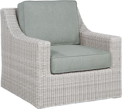 Patmos Gray Outdoor Rocker Chair with Moss Cushions