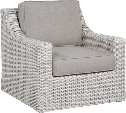 Patmos Gray Outdoor Rocker Chair with Mushroom Cushions