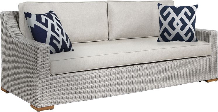 Patmos Gray Outdoor Sofa with Linen Cushions