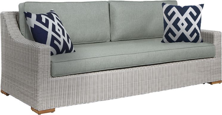 Patmos Gray Outdoor Sofa with Moss Cushions