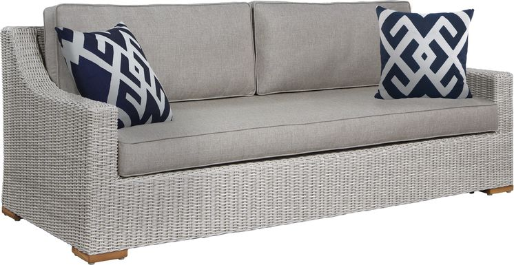 Patmos Gray Outdoor Sofa with Mushroom Cushions