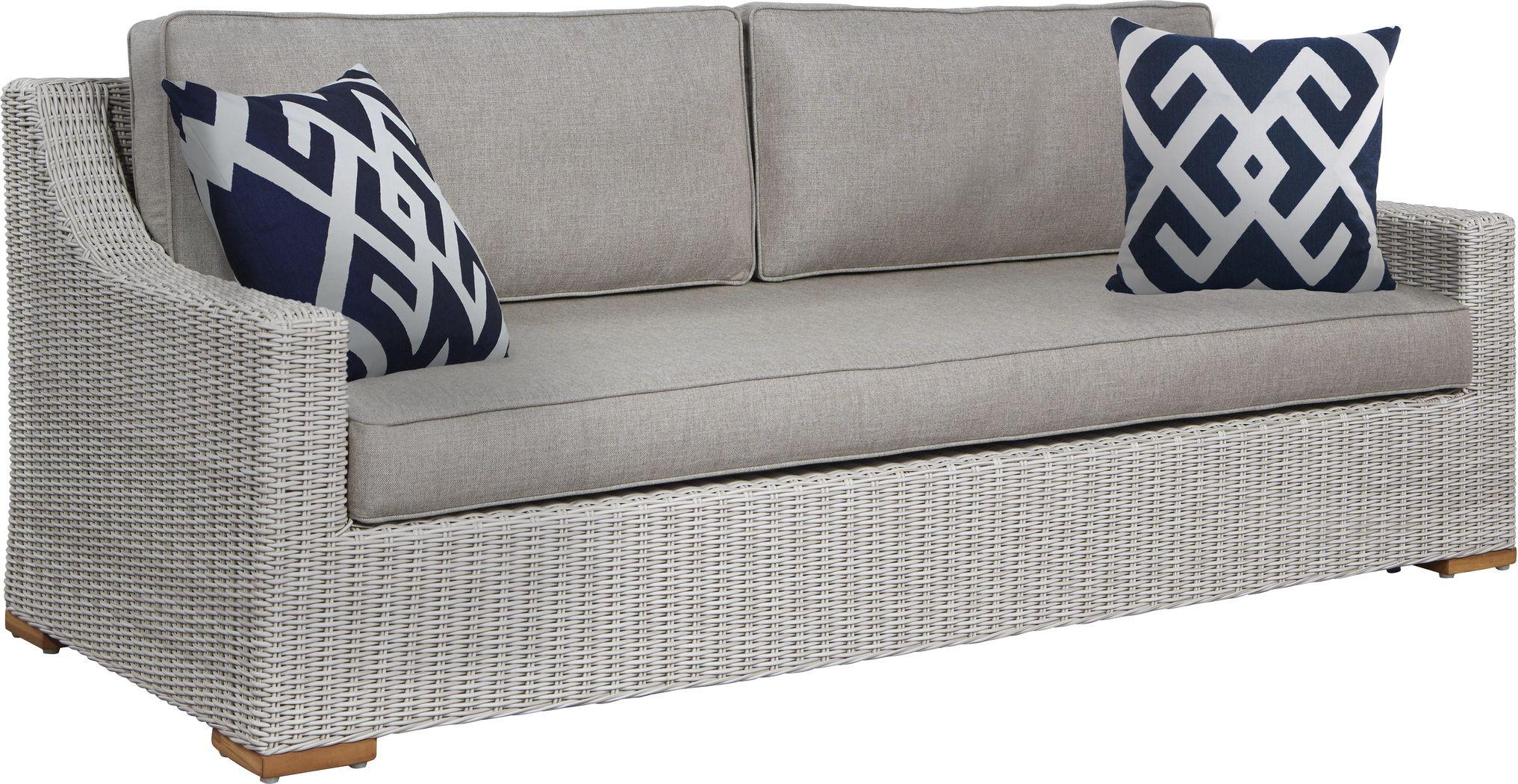 Patmos Gray Outdoor Sofa with Mushroom Cushions
