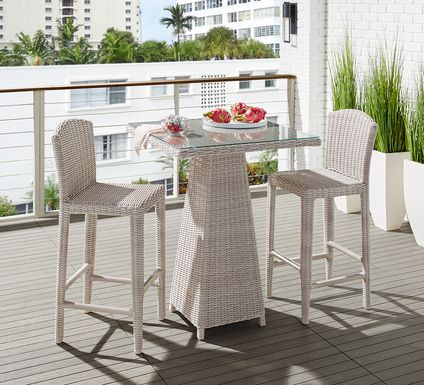 Patmos Gray Wicker 3 Pc 32 in. Square Bar Height Outdoor Dining Set