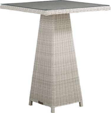Patmos Gray Wicker 32 in. Square Bar Table