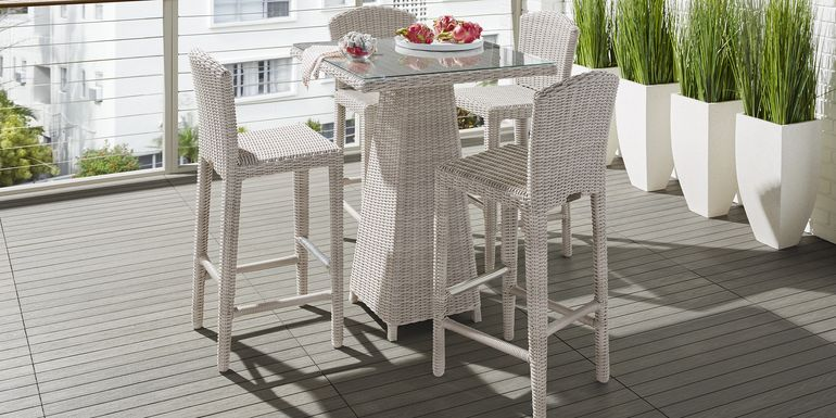 Patmos Gray Wicker 5 Pc 32 in. Square Bar Height Outdoor Dining Set