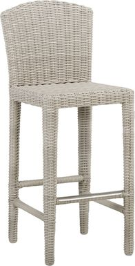 Patmos Gray Wicker Barstool