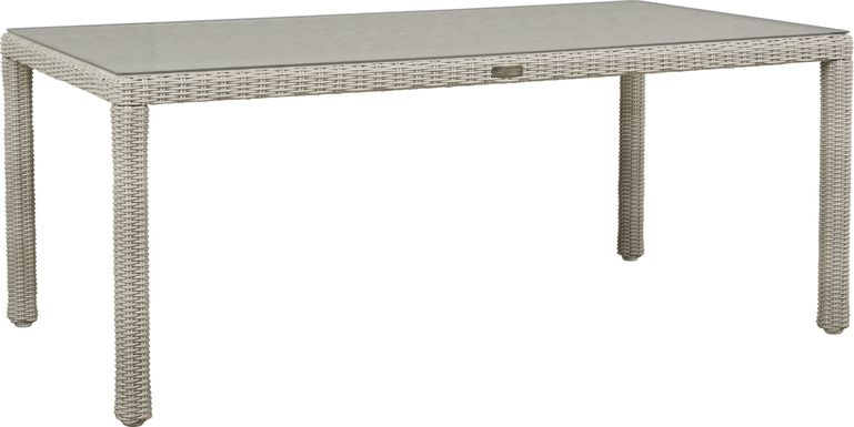 Patmos Gray Wicker Rectangle Dining Table