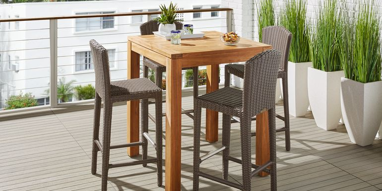 Patmos Teak 5 Pc 36 in Square Bar Height Dining Set with Brown Wicker Barstools