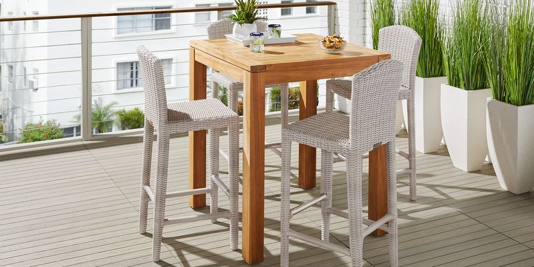 Patmos Teak 5 Pc 36 in Square Bar Height Dining Set with Gray Wicker Barstools