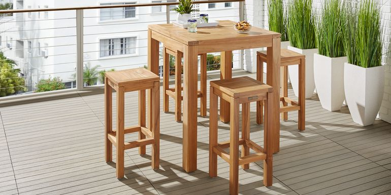 Patmos Teak 5 Pc 36 in. Square Bar Height Dining Set