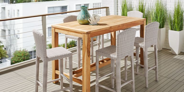 Patmos Teak 5 Pc 71 in. Rectangle Bar Height Dining Set with Gray Wicker Barstools