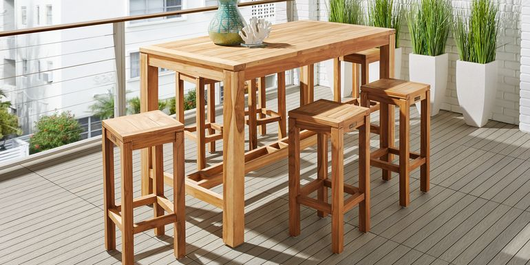 Patmos Teak 5 Pc 71 in. Rectangle Bar Height Dining Set