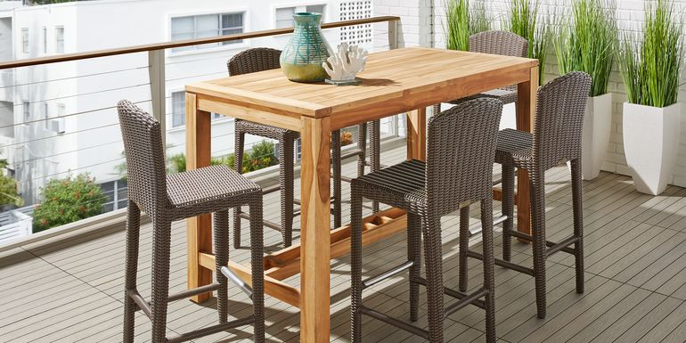 Patmos Teak 5 Pc 71 in. Rectangle Bar Height Dining Set with Brown Wicker Barstools
