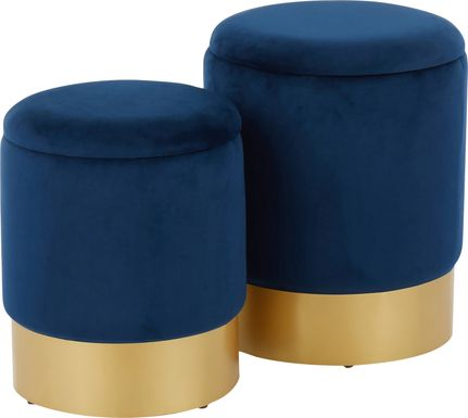 Pearlie Blue Ottoman, Set of 2