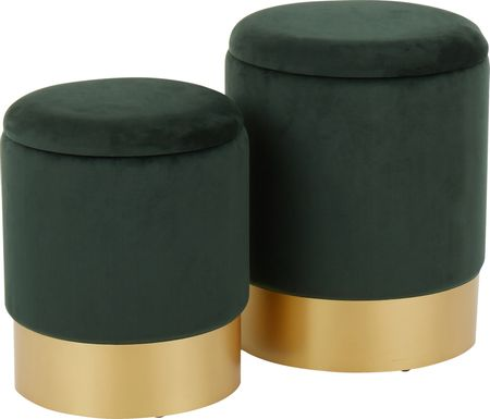 Pearlie Green Ottoman, Set of 2
