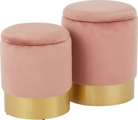 Pearlie Pink Ottoman, Set of 2