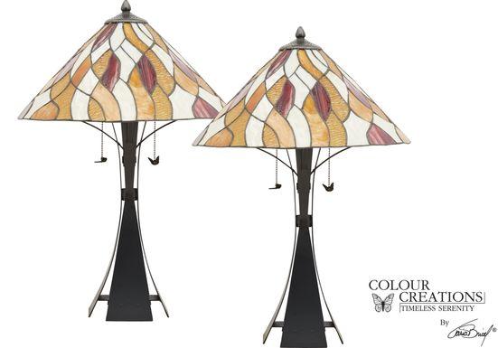 Pebble Path Orange Lamp, Set of 2