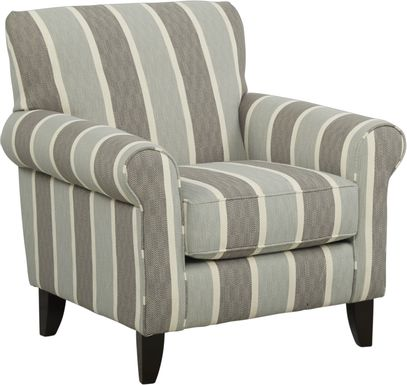 Pennington Blue Striped Accent Chair