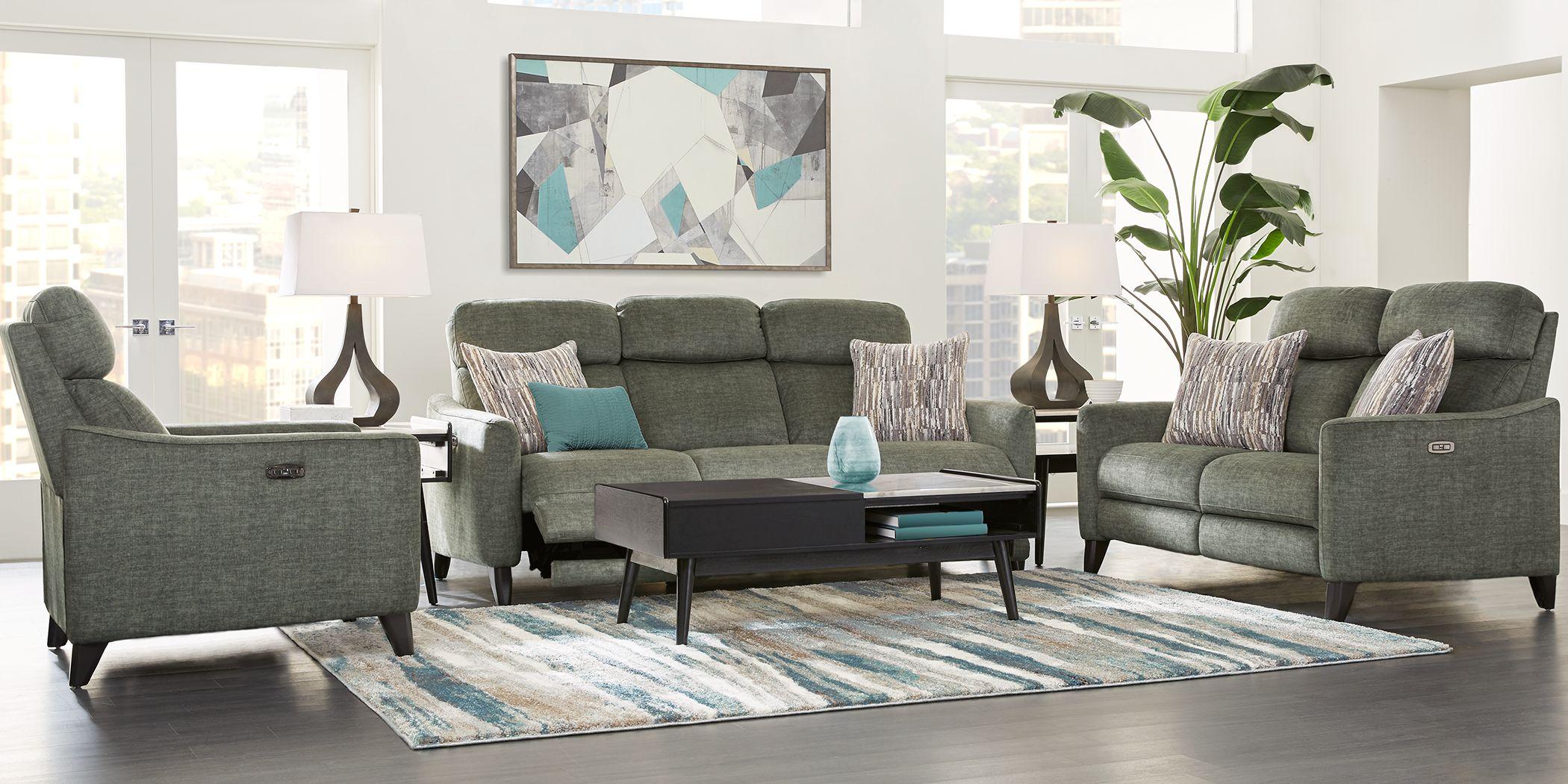 Pierceton Gray 5 Pc Living Room with Dual Power Reclining Sofa