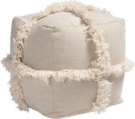 Pineview Court Beige Pouf