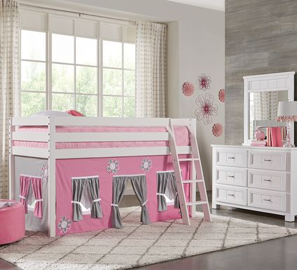 Pink Cottage White Jr. Tent Loft Bed