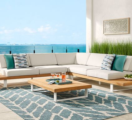 Platform 3 Pc Outdoor Sectional with White Sand Cushions