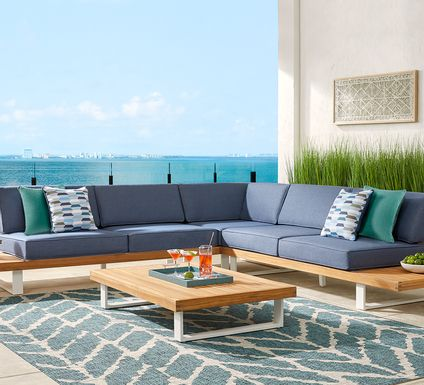 Platform 4 Pc Outdoor Sectional Seating Set with Denim Cushions