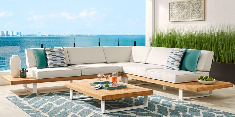 Platform 4 Pc Outdoor Sectional Seating Set with White Sand Cushions