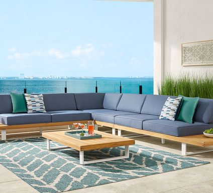 Platform 4 Pc Outdoor Sectional with Denim Cushions