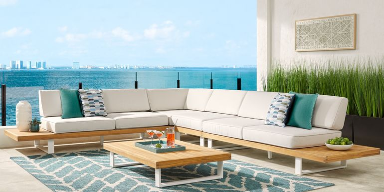 Platform 4 Pc Outdoor Sectional with White Sand Cushions