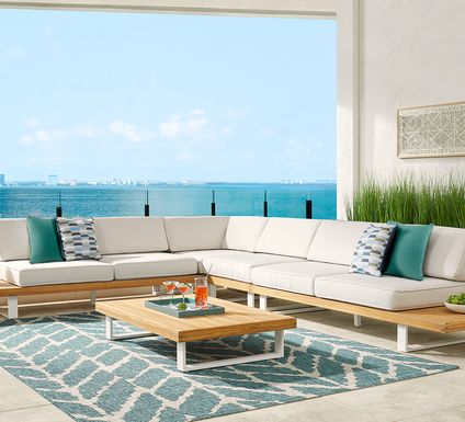 Platform 5 Pc Outdoor Sectional Seating Set with White Sand Cushions