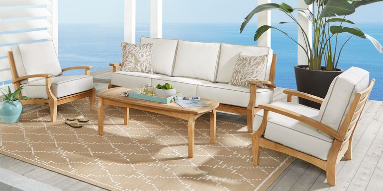 Pleasant Bay Teak Tan 4 Pc Outdoor Seating Set with White Sand Cushions